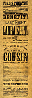 0065273 © Granger - Historical Picture ArchiveFORD'S THEATRE, 1865.   Program for the play Our American Cousin shown at Ford's Theatre, Washington, D.C., on 14 April 1865, when President Abraham Lincoln was assassinated during the performance.