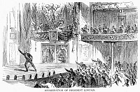 0089934 © Granger - Historical Picture ArchiveABRAHAM LINCOLN   (1809-1865). 16th President of the United States. John Wilkes Booth on the stage at Ford's theater after he had fatally shot President Lincoln, 14 April 1865. Wood engraving, 19th century.