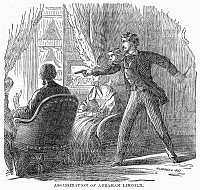 0089936 © Granger - Historical Picture ArchiveLINCOLN: ASSASSINATION.   The assassination of Abraham Lincoln by John Wilkes Booth at Ford's Theatre, Washington D.C., on 14 April 1865. Wood engraving, 19th century.