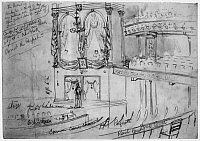 0089951 © Granger - Historical Picture ArchiveFORD'S THEATER, 1865.   Stage and Presidential balcony of Ford's Theater, Washington, D.C. Pencil drawing by William Waud, 1865.
