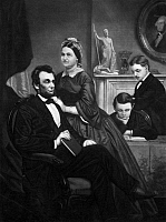 0108910 © Granger - Historical Picture ArchiveABRAHAM LINCOLN (1809-1865).  16th President of the United States. Lincoln, his wife Mary Todd, and his two sons, Thomas and Robert Todd. Mezzotint.