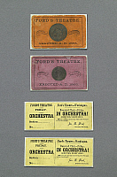0128926 © Granger - Historical Picture ArchiveFORD'S THEATER, 1863.   Orchestra tickets from the Ford's Theater two years before the assassination of Abraham Lincoln on 14 April 1865, Washington, D.C. Photograph by Carol M. Highsmith, 2007.