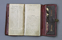 0128934 © Granger - Historical Picture ArchiveWILKES DIARY, 1864.   John Wilkes Booth pocket diary from 1864, a year before the assassination of Abraham Lincoln on 14 April 1865. Photograph by Carol M. Highsmith, 2007.