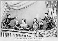 0259327 © Granger - Historical Picture ArchiveLINCOLN: ASSASSINATION, 1865. The assassination of President Abraham Lincoln by John Wilkes Booth at Ford's Theatre, Washington, D.C., 14 April 1865. Lithograph by Currier & Ives, 1865.