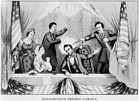 0259328 © Granger - Historical Picture ArchiveLINCOLN: ASSASSINATION, 1865. The assassination of Abraham Lincoln by John Wilkes Booth at Ford's Theatre, Washington D.C., 14 April 1865. Lithograph, 1865.