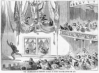0264983 © Granger - Historical Picture ArchiveLINCOLN ASSASSINATION, 1865. The assassination of President Abraham Lincoln by John Wilkes Booth at Ford's Theatre, Washington, D.C., 14 April 1865. Engraving, 1865.