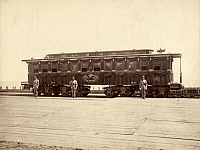 0322879 © Granger - Historical Picture ArchiveLINCOLN FUNERAL CAR, 1865.   Soldiers guarding President Abraham Lincoln's funeral railroad car in Chicago, Illinois. Photograph by Samuel Montague Fassett, 1865.
