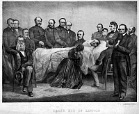 0322952 © Granger - Historical Picture ArchiveDEATH OF LINCOLN, 1865.   'Death bed of Lincoln.' Lithograph, 1865.