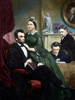 0350813 © Granger - Historical Picture ArchiveABRAHAM LINCOLN (1809-1865).  16th President of the United States. Lincoln, his wife Mary Todd, and his two sons, Thomas and Robert Todd. Mezzotint, digitally colored by Granger, NYC -- All Rights Reserved.
