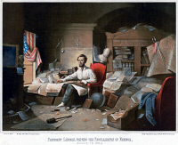 0527895 © Granger - Historical Picture ArchiveABRAHAM LINCOLN (1809-1865).   16th President of the United States. Writing the Emancipation Proclamation. Lithograph after David Gilmour Blythe, c1864.