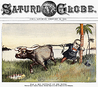 0090039 © Granger - Historical Picture ArchivePHILIPPINE INSURRECTION.   President William McKinley tries to hold on the Philippines, which has declared independence though ceded by Spain to the United States. Cartoon from an American newspaper of February 1899.