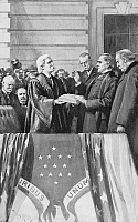 0090045 © Granger - Historical Picture ArchiveMcKINLEY TAKING OATH, 1897.   Chief Justice Melville W. Fuller admistering the Presidential oath of office to William McKinley, 4 March 1897. To the right is the outgoing president, Grover Cleveland. Illustration from an American magazine, 1897.