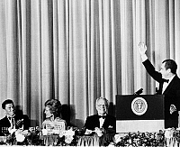 0107131 © Granger - Historical Picture ArchiveRICHARD NIXON (1913-1994).  37th President of the United States. President Nixon (at podium) at a fundraising dinner for the Republican Party in Los Angeles with Governor Ronald Reagan (far left), First Lady Patricia Nixon, and Edward W. Carter. Photographed 1972.