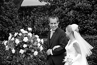 0125720 © Granger - Historical Picture ArchiveRICHARD NIXON (1913-1994).   37th President of the United States. Escorting his daughter Tricia down the aisle at her wedding to Edward Cox in the rose garden of the White House at Washington, D.C., 12 June 1971. Photographed by Warren K. Leffler.