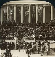 0001109 © Granger - Historical Picture ArchiveT. ROOSEVELT INAUGURATION.   Chief Justice Melville Fuller administering the oath of office at the inauguration of Theodore Roosevelt as the 26th President of the United States on the steps of the Capitol, March 4, 1905. American stereograph.