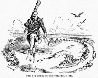 0004384 © Granger - Historical Picture ArchiveROOSEVELT CARTOON, 1904.   'The Big Stick in the Caribbean Sea.' President Theodore Roosevelt enforcing his concept of the Monroe Doctrine by having a U.S. naval flotilla steam from one Caribbean port to another. Cartoon, 1904, by W.A. Rogers.