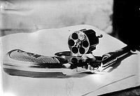 0108719 © Granger - Historical Picture ArchiveREVOLVER, 1912.   Revolver used by John Flammang Schrank in an attempted assassination of former president Theodore Roosevelt on 14 October 1912, in Milwaukee, Wisconsin.