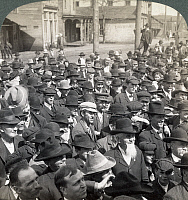 0130269 © Granger - Historical Picture ArchiveROOSEVELT SPEECH, 1905.   Crowds in Mount Vernon, Illinois, listening as U.S. President Theodore Roosevelt addresses them from his train, 4 April 1905. Stereograph.