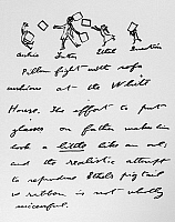 0165855 © Granger - Historical Picture ArchiveROOSEVELT: LETTER TO ETHEL.   Second page of an illustrated letter written by President Theodore Roosevelt to his daughter, Ethel, depicting himself and his children Ethel, Quentin and Archie having a pillow fight with couch cushions at the White House, 22 June 1904.