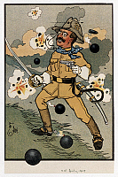 0174614 © Granger - Historical Picture ArchiveTHEODORE ROOSEVELT  (1858-1919). 26th President of the United States. Roosevelt charging up San Juan Hill, Cuba, 1898. Caricature, American, 1909.