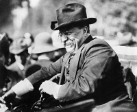 0174621 © Granger - Historical Picture ArchiveTHEODORE ROOSEVELT  (1858-1919). 26th President of the United States. Photographed while riding in a car, c1910.