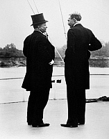 0174625 © Granger - Historical Picture ArchiveROOSEVELT & GIFFORD, 1907.   President Theodore Roosevelt and Chief of the U.S. Forest Service Giffort Pinchot on the river steamer 'Mississippi' on a trip of the inland waterways. Photograph, October 1907.