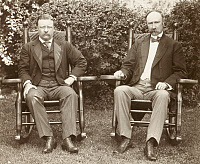 0621831 © Granger - Historical Picture ArchiveTHEODORE ROOSEVELT  (1858-1919). 26th President of the United States. Seated alongside Senator Charles Fairbanks at Sagamore Hill, Near Oyster Bay, New York. Photograph, 16 July 1904.