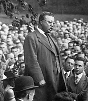 0621840 © Granger - Historical Picture ArchiveTHEODORE ROOSEVELT  (1858-1919). 26th President of the United States. Speaking to a crowd at his home, Sagamore Hill, near Oyster Bay, New York. Photograph, 1916.