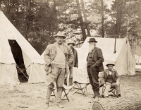 0623707 © Granger - Historical Picture ArchiveTHEODORE ROOSEVELT   (1858-1919). 26th President of the United States. With naturalist John Burroughs and guide Billy Hofer in Yellowstone National Park. Photograph, 1903.