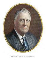 0009570 © Granger - Historical Picture ArchiveF. D. ROOSEVELT (1882-1945).   Contemporary colored engraving.