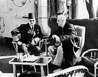 0017877 © Granger - Historical Picture ArchiveROOSEVELT ABOARD WARSHIP.   F.D. Roosevelt aboard a U.S. warship with King Farouk of Egypt, 20 February 1945.