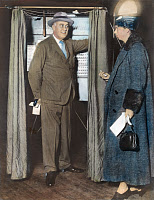 0057894 © Granger - Historical Picture ArchiveTHE ROOSEVELTS VOTING.   President and Mrs. Franklin Delano Roosevelt voting at Hyde Park, New York, n.d.
