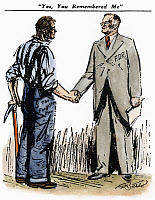 0064587 © Granger - Historical Picture ArchiveCARTOON: FDR & WORKINGMEN.   'Yes, You Remembered Me' (The Forgotten Man). Cartoon, 1936, by Clarence D. Batchelor, on President Franklin D. Roosevelt's support among working people in his re-election campaign.