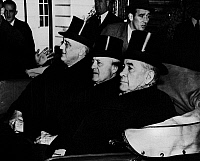 0108340 © Granger - Historical Picture ArchiveFDR: INAUGURATION, 1941.   President Franklin D. Roosevelt (far left) en route to his third inauguration, accompanied by Speaker of the House Sam Rayburn and Senate Majority Leader Alben Barkley. Photographed 20 January 1941.