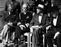 0108341 © Granger - Historical Picture ArchiveQUEBEC CONFERENCE, 1944.   Allied leaders of World War II at the Second Quebec Conference, September 1944. From left: Gen. George C. Marshall, Admiral William Daniel Leahy, President Franklin D. Roosevelt, and Prime Minister Winston Churchill.