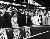 0115292 © Granger - Historical Picture ArchiveFRANKLIN D. ROOSEVELT   (1882-1945). 32nd President of the United States. President Roosevelt tossing the first ball at the opening of the major league baseball season, 1936.
