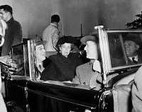 0168648 © Granger - Historical Picture ArchiveFRANKLIN DELANO ROOSEVELT   (1882-1945). 32nd President of the United States. With First Lady Eleanor Roosevelt in the back seat of an open convertible, c1940.