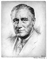 0174697 © Granger - Historical Picture ArchiveFRANKLIN DELANO ROOSEVELT   (1882-1945). 32nd President of the United States. Etching, c1933.