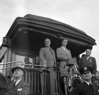 0527582 © Granger - Historical Picture ArchiveFRANKLIN D. ROOSEVELT   (1882-1945). 32nd President of the United States. Speaking from a train in Bismarck, North Dakota. Photograph by Arthur Rothstein, August 1936.