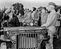 0527587 © Granger - Historical Picture ArchiveFRANKLIN D. ROOSEVELT   (1882-1945). 32nd President of the United States. Reviewing troops in Casablanca, Morocco. Photograph, 1943.