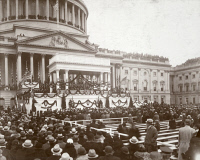 0622505 © Granger - Historical Picture ArchiveROOSEVELT INAUGURATION.   President Franklin Delano Roosevelt delivering his first inaugural address on the East Portico of the United States Capitol. Photograph, 4 March 1933.