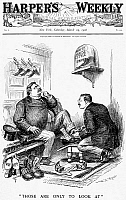 0090148 © Granger - Historical Picture ArchiveROOSEVELT-TAFT CARTOON.   'Those Are only to Look at.' Secretary of War William Howard Taft is eyeing boots, White House style, while President Theodore Roosevelt is helping him into Supreme Court slippers. American cartoon by W.A. Rogers, 1906.