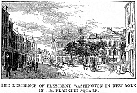 0001071 © Granger - Historical Picture ArchiveWASHINGTON: RESIDENCE.   President George Washington's residence, the building with a fence, in Franklin Square, New York, in 1789. Wood engraving, 1889.