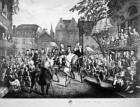 0005034 © Granger - Historical Picture ArchiveGEORGE WASHINGTON   (1732-1799). First President of the United States. George Washington's Triumphal Entry into New York City, 25 November 1783. Lithograph, 1860.