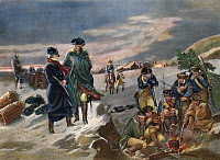 0008969 © Granger - Historical Picture ArchiveWASHINGTON: VALLEY FORGE, 1777. General George Washington with Major General Lafayette at Valley Forge, 1777. Line engraving, 19th century.