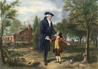 0009282 © Granger - Historical Picture ArchiveGEORGE WASHINGTON (1732-1799).   1st President of the United States. 'Father, I cannot tell a lie: I cut the tree.' Depiction of Parson Weems' popular fiction of George Washington and the cherry tree. Engraving after a painting by George Gorgas White, 1867.