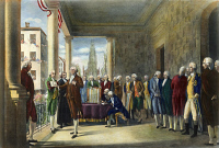 0009880 © Granger - Historical Picture ArchiveWASHINGTON: INAUGURATION, 1789.   The inauguration of George Washington as the first President of the United States at Federal Hall, New York City, 30 April 1789. After a painting by Ramon de Elorriaga, 1889.
