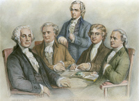 0009986 © Granger - Historical Picture ArchiveGEORGE WASHINGTON   (1732-1799). First President of the United States. Depicted with his Cabinet. Left to right: George Washington, Henry Knox, Alexander Hamilton, Thomas Jefferson and Edmund Randolph. Drawing after an engraving by Currier & Ives, 1876.