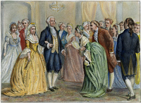 0010747 © Granger - Historical Picture ArchiveWASHINGTON RECEPTION, 1789.   President and Mrs. Washington at a presidential reception in 1789. Lithograph, 1876 by Currier & Ives.