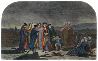 0010750 © Granger - Historical Picture ArchiveWASHINGTON: FORT NECESSITY.   George Washington at Fort Necessity the night before his capitulation to the French on July 4, 1754: colored engraving, 19th century.